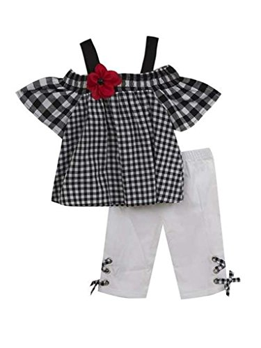 Rare Editions Black and White Gingham Capri Set With Red Flower- Size 12 Months Red Gingham Capris