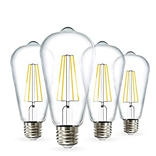Sunco Lighting 4 Pack ST64 LED Bulb, Dimmable, Waterproof, 8.5W=60W, 2700K Soft White, Vintage Edison Filament Bulb, 800 LM, E26 Base, Restauarant or String Lights - UL