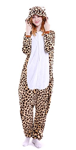 Unisex Flannel Adult Animal Cosplay Pajamas Onesies Halloween Costume for Womens (Leopard Bear, L(Ht:63