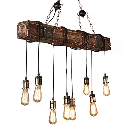 KJLARS Farmhouse Chandelier Wood Hanging Industrial Pendant Lighting Vintage Ceiling Light Fixture 8 Light for Pool Table Kitchen Island Bar Retro Hanging Lamp -