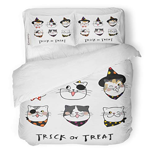 Semtomn Decor Duvet Cover Set King Size Different Emotion Face of Cat for Halloween Day Draw 3 Piece Brushed Microfiber Fabric Print Bedding Set Cover -