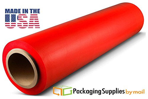 "8 Rolls Light Red Color Hand Stretch Wrap 18""x 1500 feet x 80 gauge by PackagingSuppliesByMail"
