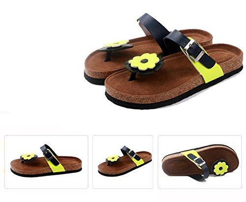 Mujer sandalias planas de la playa Zapatos Peep-dedo del pie Flip Flop Chanclas Chancletas 36 2 GzSVCMW