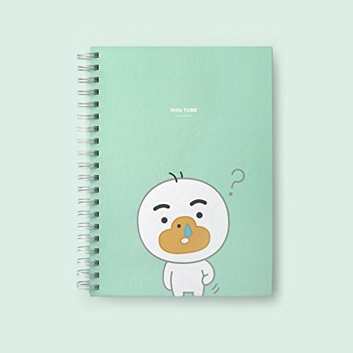 Kakao Little Friends Hardcover 5 Index Spiral Bound Notebook, Subject Notebook, Wire Bound Notebooks, Spring Notepad   125 Sheets (Little Tube) by Kakao Friends
