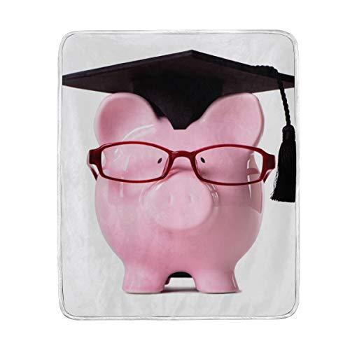 AMONKA Throw Blanket Graduate Piggy B1ank Front View