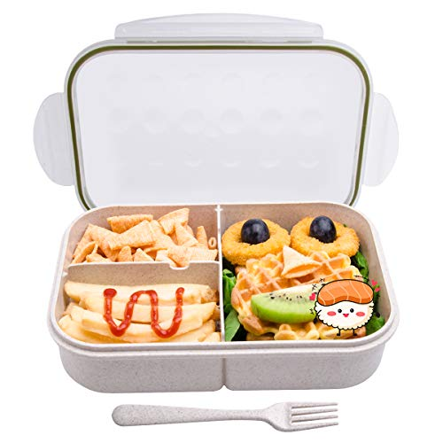 Bento Box, Bento Box for Kids, Lunch boxes for kids, Leakproof Lunch Box with 3 Compartments, Lunch container safe for kids (White)) By MissBig
