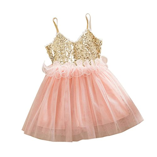 Minisoya Sweet Baby Girls Princess Dress Party Outfit Kids Toddler Cute Ruffle Sequins Tulle Lace Tutu Slip Dress (Pink, 100 (Age:2-3Y))