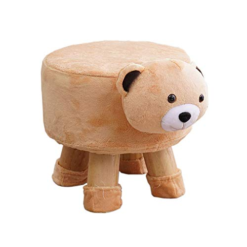 Lil Creative Sofa Bench Change Shoes Stool Children Solid Wood Animal Bench Plush Sofa Bench (Color : - Plush Bear Footstool