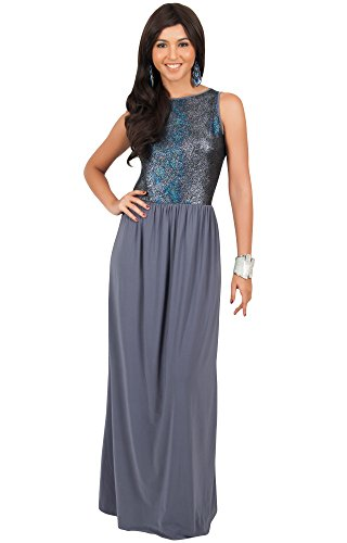 Evening Cocktail Party Special Womens Koh Long Maxi Gown Sleeveless Koh Grey Dark Dress qw1SaS0n4