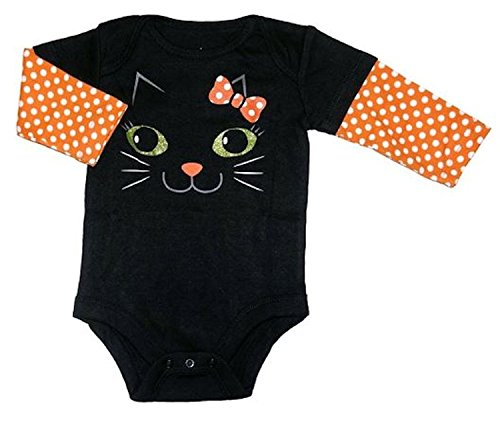 Assorted Witch, Pumpkin, Cat Baby Boys & Girls Halloween Bodysuit Dress Up Outfit (3-6 Months, Black Kitty (Infant Halloween Outfits)
