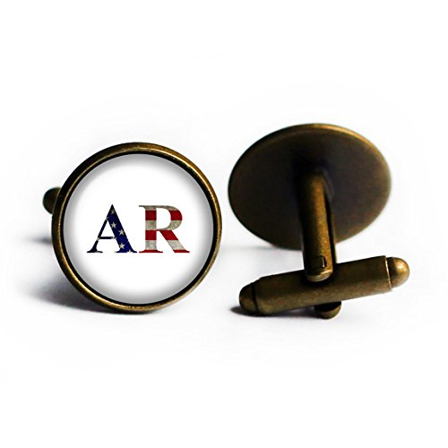 Initials Flag Arkansas AR Bronze Cufflinks (Arkansas Ar State Flag)