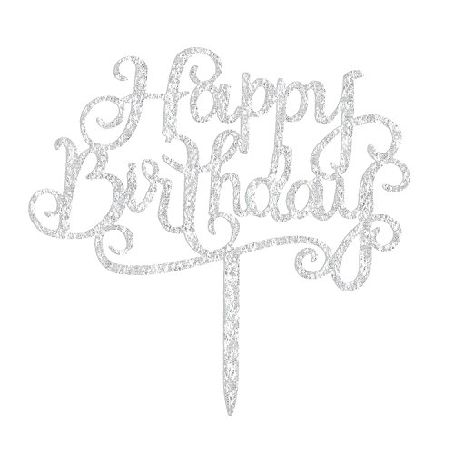 Price comparison product image Birthday Cake Topper Silver 1st One Baby Shower,  Acrylic Happy Birthday Cake Top