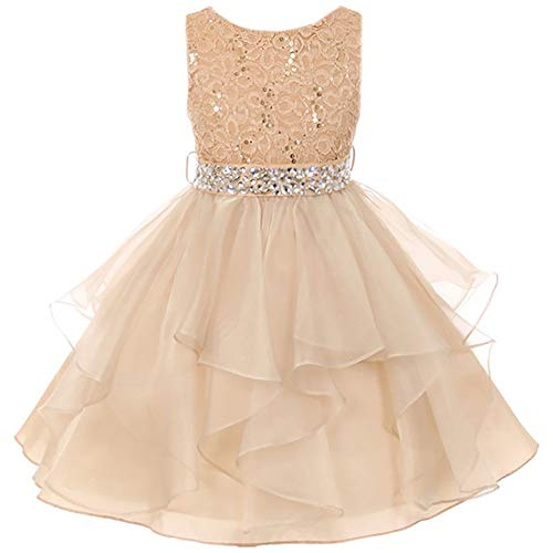 Flower Girl Dresses Tulle Skirt (Big Girls Lace Bodice Asymmetric Ruffles Tulle Skirt Rhinestones Flower Girl Dress Gold - Size)