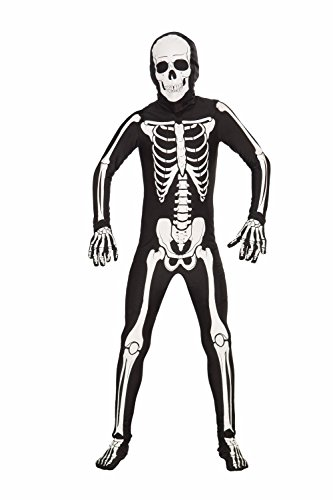 Forum Novelties Women's Teen Disappearing Man Patterned Stretch Body Suit Costume Skeleton, Black/White, (All White Costume)
