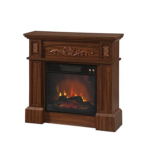 Electric Fireplace Heater Etched Wood Walnut Intensity Option Adjustable Imported