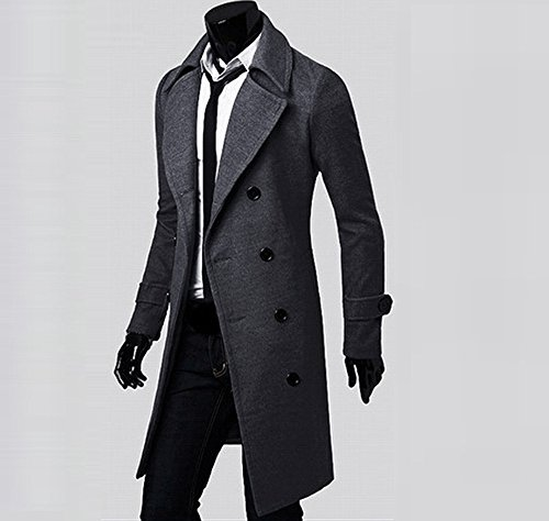 Slim Stylish Parka Men Angle Trench Down Coat Double Anglewolf Jacket Breasted jackets Grey Winter Outwear Long BOxBXqYH