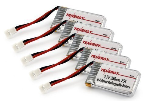 5pcs Tenergy 3.7V 380mAh LiPO Battery for Hubsan X4 (H107C, H107D, H107L), Syma X11 X11C, TDR Spider