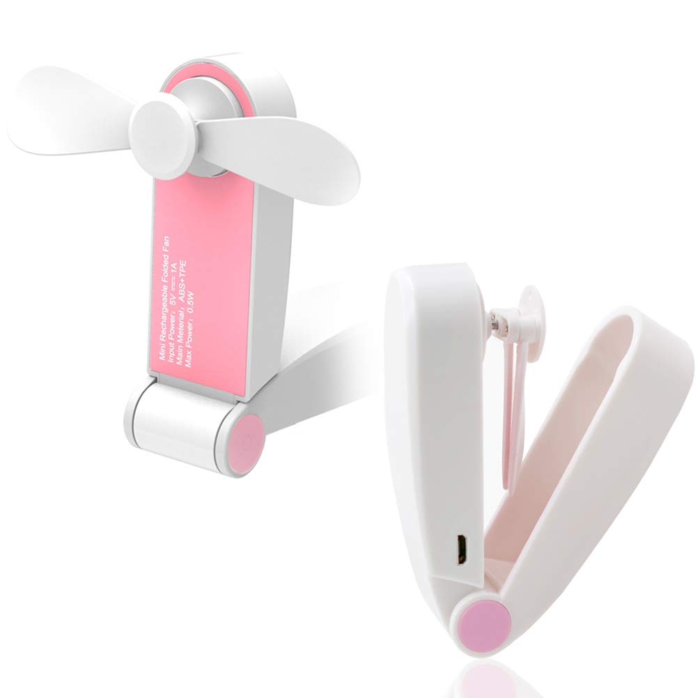 Smarlf Mini Cute Simple Low Noise Cooling Fans Handle Foldable Portable Fans,USB Rechargeable Desktop,2 Speeds,18650 Battery 3 Hour Working Time,for Home Office Outdoor Travel Commute