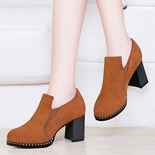 otoño Zapatos de brown señora Tacon Deep Invierno Suela Gruesa Mujer Botas Alto Zapatos de Calzado Martin Transpirable AJUNR nx4TwYq07x