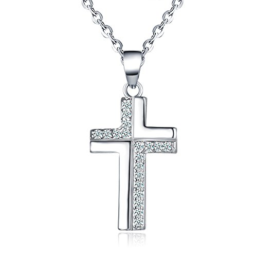 Winter's Secret Diamond Accented Style Zircon Cross Pendant Personality Silver Plated Clavicle Necklace