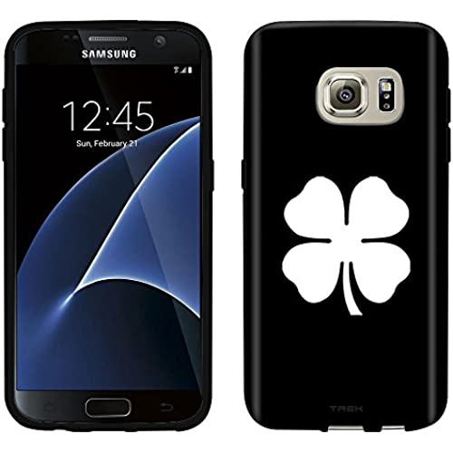 Samsung Galaxy S7 Case, Snap On Cover by Trek Silhouette Four Leaf Clover Irish Ireland on Black Case Sales