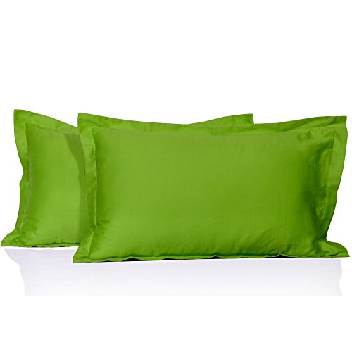 Måløv Linen Hotel Style 400 Thread Count 2-Pieces Egyptian Cotton German/Extra Large Square Pillow Shams, Parrot Green - Large Green Parrot