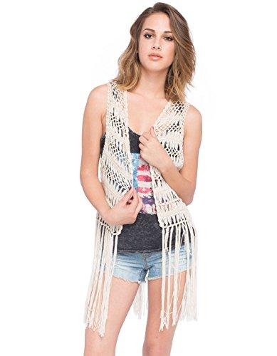 FULL TILT Crochet Fringe Womens Vest, Natural, L/XL