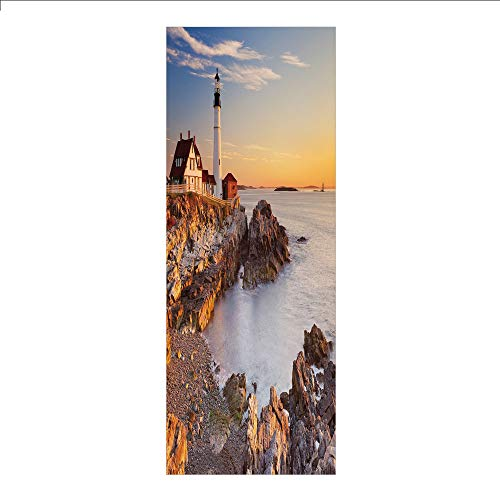 3D Decorative Film Privacy Window Film No Glue,United States,Cape Elizabeth Maine River Portland Lighthouse Sunrise USA Coast Scenery,Light Blue Tan,for Home&Office ()