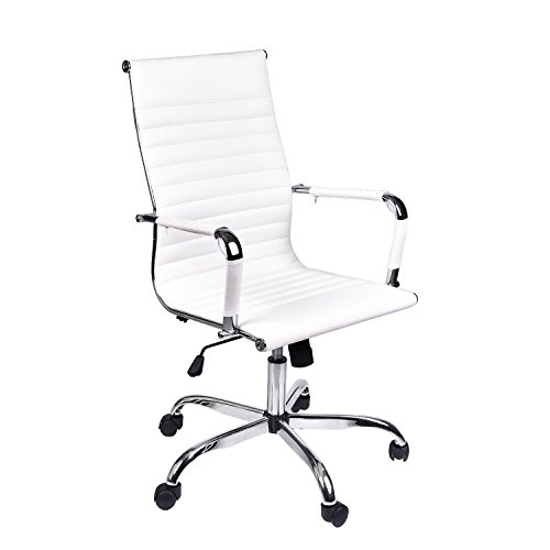Office Executive Swivel Chair, High Back Padded Tall Ribbed, Pu Leather, Wheels Arm Rest Computer Chair, Chrome Base, Home Furniture, Conference Room Reception (White) (Executive Side Arm Chair)
