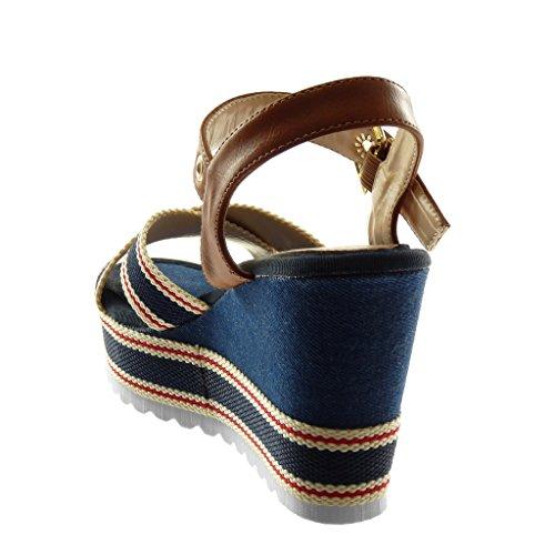 Angkorly Zapatillas Moda Sandalias Mules Correa de Tobillo Plataforma Mujer Tricolors Perforado Hebilla Plataforma 10 cm Azul