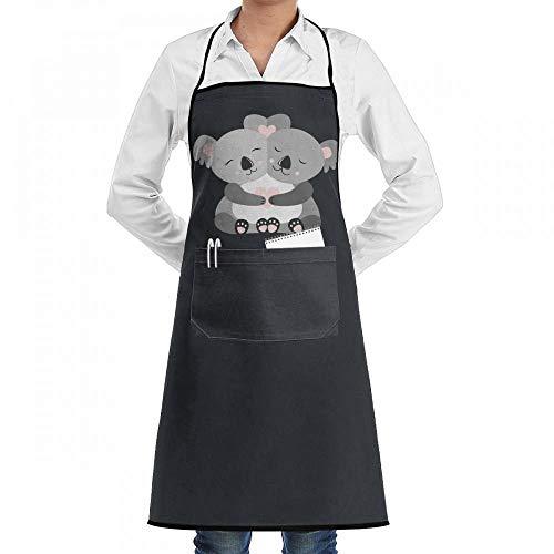 Mcdorty Hugging Cute Koala Heart Chef Kitchen Cooking Aprons BBQ Bib Apron with Pockets for Women -