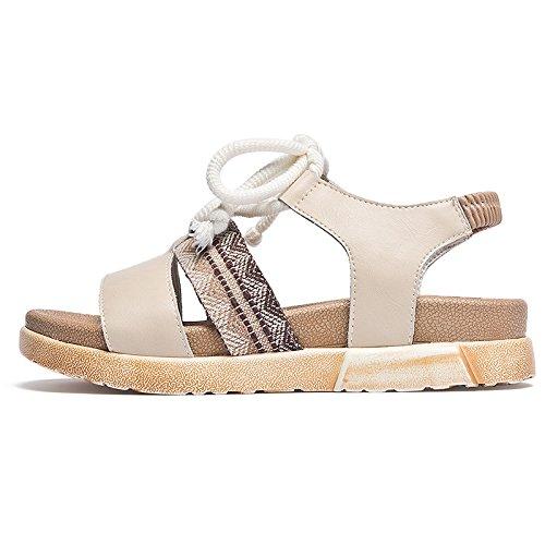 Up oblicua Nuevo cuña Verano SOHOEOS Vintage Beige señoras mujeres para Open toe sandalias damas de plataforma Lace Sandalias plano romanas WqwpqzZ8