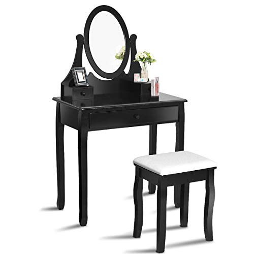 Giantex Vanity Table Set with 360° Rotating Round Mirror, Makeup Mirrored Dressing Table with Cushioned Stool & 3 Drawers, Bedroom Vanities for Women Girls, Detachable Mirror Stand to be a Desk, Black