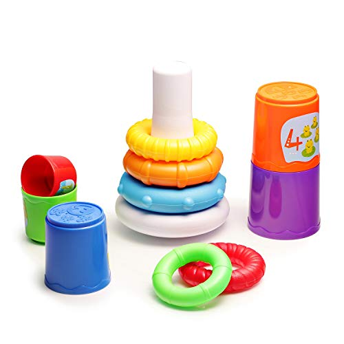 (infunbebe Stacking Toys 2 in 1 Stacking Cups and Stacking Ring for Toddlers, Educational Stacker Toys for Baby from 6)