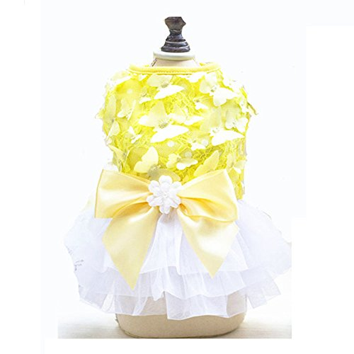 Pet Dog Dresses Summer Butterfly Pringting Puppy Dog Pet Dress Skirt XS S M L XL Pet summer Apparel Costume-yellow for Chihuahua (M)