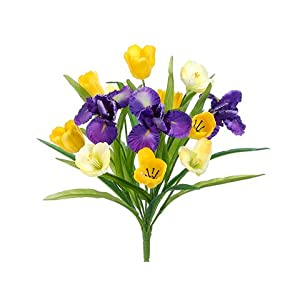 "18.5"" Tulip/Iris Bush x13 Yellow Purple (Pack of 12) 8"