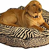 Snoozer Safari Luxury Round Pillow Bed, Large, Black/White, My Pet Supplies