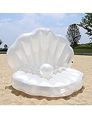 حمام سباحة قابل للنفخ من كيدل على شكل صدفة بحر، سرير عائم بوسادة للشاطئ، أريكة مائية على شاطئ البحر، سرير هوائي عائم، وسادة ماء عائمة