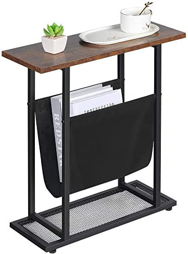 Dulcii Vintage Narrow End Table with Fabric Magazine Holder Sling, Modern Industrial Side Table or Sofa End Table, 21.7 Inch Nightstand for Small Spaces Wood Metal H Shape with Book Storage Holder