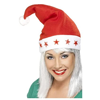 1b9579e870c22 Ladies Red Fleece Santa Hat W  Flashing Stars Christmas Fancy Dress Prop   Amazon.co.uk  Kitchen   Home