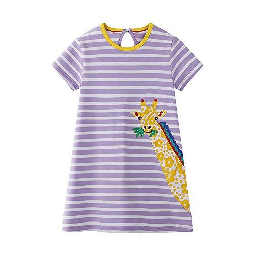 DYW Toddler Girls Cute Cartoon Animal Cotton Dresses Summer Short Sleeve Casual Outfit 2-7 Years (5# Giraffe, 3T) (Ball Cartoon Animal)