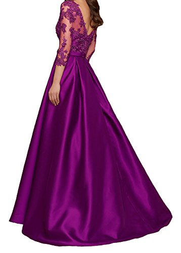 LuckyShe Ballkleid 3 Ärmeln Lila Lang 4 Spitze Abendkleider linie for mit Hochzeitsgäste Damen A xZZwUTrFq