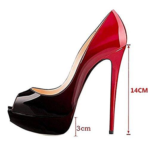 Scarpe con Tacco Toe Rosso da Scarpe Peep Scarpe Nero E Plateau Donna col Scarpe gq6Yw8TA
