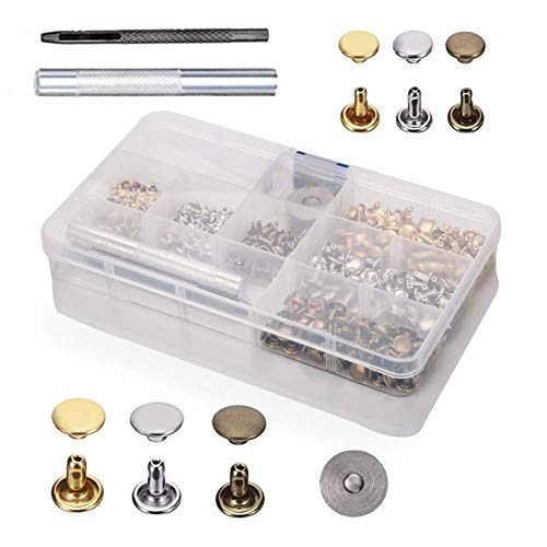 180 Set Snap Fasteners Leather Rivets Double Cap Rivet Buttons with Fixing Tools for DIY Leather Craft, 3 Sizes (Bronze, Silver and Gold) ()
