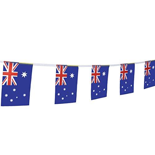 LoveVC 100 Feet Small Mini Australia Australian Flags Banner String,Decorations Supplies for Australia Day Theme Party Celebration Events
