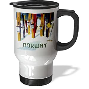 3dRose tm_163648_1 Image of Skis with Word Norway Travel Mug, 14-Ounce, Stainless Steel