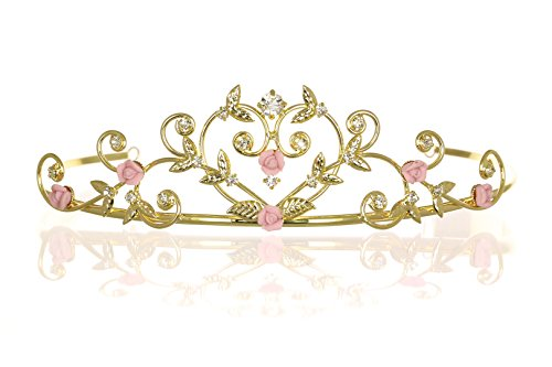 Rose Flower Rhinestone Crystal Wedding Tiara Crown - Pink Roses Gold Plating