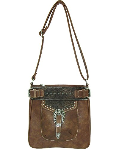 (Savana Women's Faux Leather Tote Messenger Bag Tan One Size)
