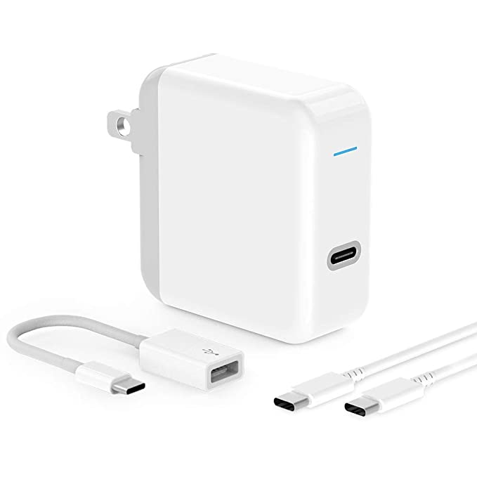 USB C Charger for iPad Pro 2018 12.9, 11, MacBook Pro, MacBook Air, MacBook 12 inch, iPhone, Sam. 45W Thunderbolt 3 Port USB C Power Adapter with USB ...