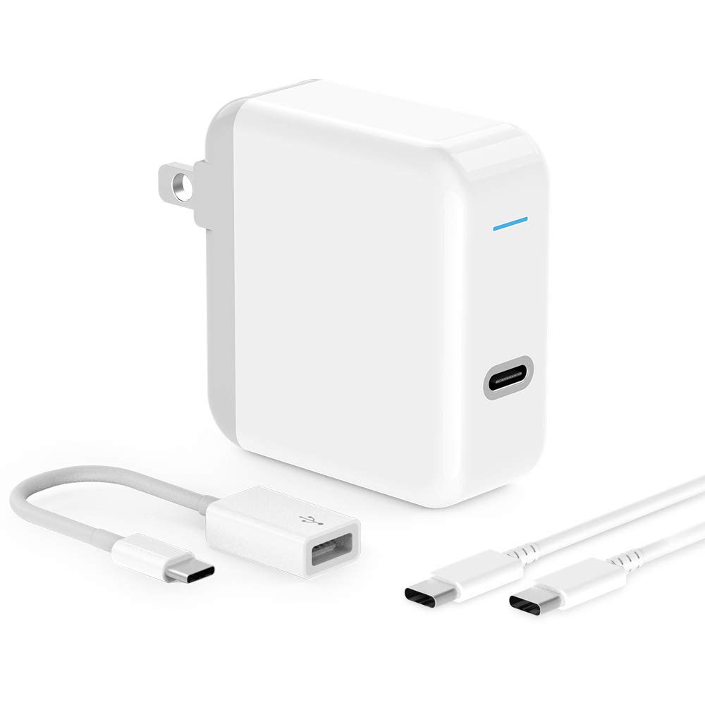 USB C Charger for iPad Pro 2018 12.9, 11, MacBook Pro, MacBook Air, MacBook 12 inch, iPhone, Sam. 45W Thunderbolt 3 Port USB C Power Adapter with USB Type C to USB 3.0 Adapter, 6.6ft USB C-C Cable